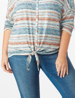 Textured Stripe Tie Front Knit Top - Plus - 4