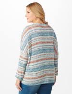 Textured Stripe Tie Front Knit Top - Plus - Blue - Back