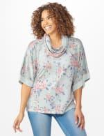 Cowl Neck Floral Knit Top - 6