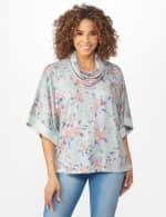 Cowl Neck Floral Knit Top - 5