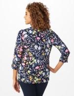 Roz & Ali Multi Color Floral Popover - Navy - Back