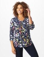 Roz & Ali Multi Color Floral Popover - Navy - Front