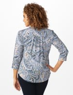 Roz & Ali Denim Paisley Pintuck Popover - Denim/Taupe - Back