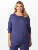 DB Sunday Sweater Knit Marilyn Neck Top - Plus - Navy - Front