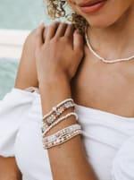 Pearl Braided Stone Bracelet - White / Natural White - Back
