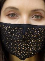 2Pcs Stone / Solid Face Mask - Black / Gold - Front