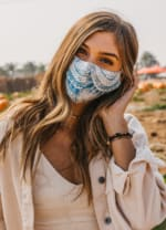 Azure Nose Wire Wide Print Face Mask - Azure - Back