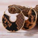 Snake Skin Half Moon Earrings - 3