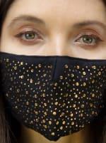 2Pcs Stone / Solid Face Mask - Black / Gold - Back