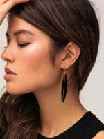Handcrafted 24K Gold Plated Panra Horn Dangle Earrings - Brass / Black - Front
