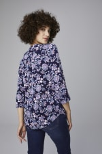 Roz & Ali Jacobean Floral Pintuck Popover - Misses - Navy - Back