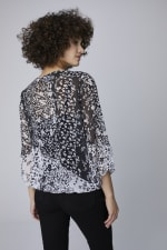 Westport Twin Print Bubble Hem Blouse - Black/White - Back