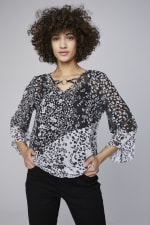 Westport Twin Print Bubble Hem Blouse - Black/White - Front