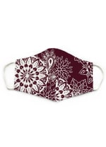 Burgundy Nose Wire Wide Print Face Mask - Burgundy - Front