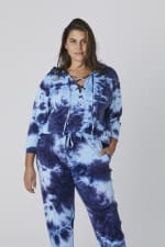 Tie Dye French Terry Lace Up Hoodie - Plus - Navy - Front