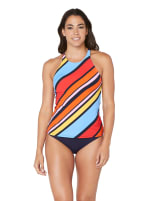 Nautica® Newport Stripe High Neck Tankini Swimsuit Top - Multi - Front
