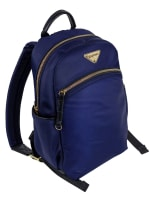 Ellen Tracy Nylon Zippered Backpack - Navy - Front