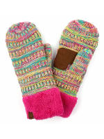 CC® Multi Color Mittens - Hot Pink / Multi - Back