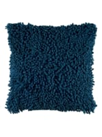 Solid Marine Blue Poly Cotton Filled Pillow - Blue - Front