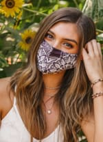 Eggplant Nose Wire Wide Print Face Mask - Eggplant - Back