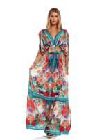 Floral Boho Peasant Dress - 7