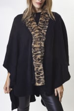 Adrienne Vittadini Solid Knit Kimono with Faux Mink Trim Border - Black / Leopard - Back