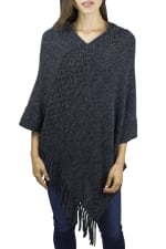 Adrienne Vittadini Solid Textured Poncho with Fringe - Charcoal - Back