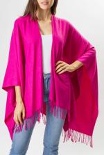 Adrienne Vittadini So soft Color Block Ruana with Fringe - Fuchsia - Front