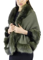 Adrienne Vittadini Solid Knit Ruana with Faux Fur Border - Olive / Olive - Front