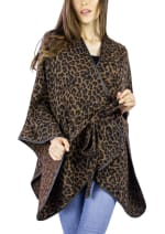 Jones New York Leopard Print Belted Ruana with Pu Trim - Leopard - Front
