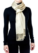 Jones New York Solid Viscose Shawl with Fringes - Taupe - Front