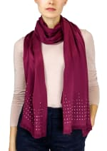 Jones New York Solid Shawl with Studded Border and Frayed Edge - Berry - Back