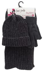 3 Pieces Hat, Scarf, Glove Set with Pom Poms - Black - Front