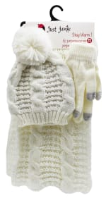 3 Pieces Cable Knit Hat, Glove, Scarf Set with Metallic - 1