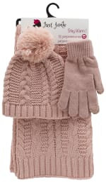 3 Pieces Solid Jersey Cable Knit Hat, Glove, Scarf Set - Blush - Front