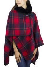 Jones New York Plaid Toggle Shawl with Mink Fur Collar - Red / Navy - Back