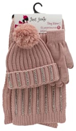 3 Pieces Rib Knit with Stones Hat, Glove, Scarf Set - Blush - Front