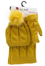 3 Pieces Wide Cable Knit Hat, Glove, Scarf Set - Mustard - Front