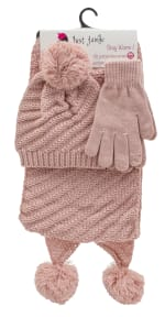 3 Pieces Diagonal Cable Knit Hat, Glove, Scarf Set - Blush - Front