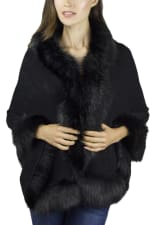 Solid Knit Ruana with Faux Fur Border - 1