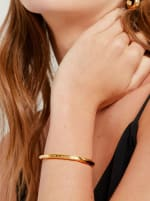 Handcrafted 24K Gold Plated Imara Twist 'On a Mission' Cuff Bracelet - Gold - Front