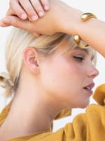 Handcrafted 24K Gold Plated Dash Cuff - Gold - Back