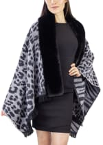 Leopard and Zebra Reversible Ruana with Faux Mink Trim Border - 1