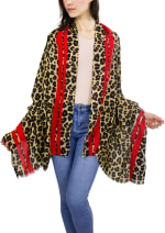 Jessica Mcclintock Leopard Print Shawl with Red Double Strip Border - 1