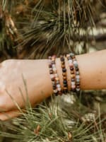 Peace + Healing 6mm Healing Bracelet - Brown / Pink - Back