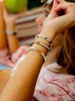 Inner Peace 4mm Healing Bracelet - Blue / Orange - Back