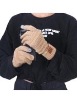 CC CHIC Women's Knit Winter Anti-Slip Touchscreen Gloves - Khaki - Back