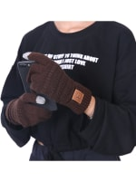 CC CHIC Women's Knit Winter Anti-Slip Touchscreen Gloves - Brown - Front