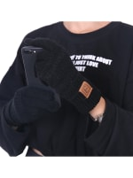 CC CHIC Women's Knit Winter Anti-Slip Touchscreen Gloves - Black - Back