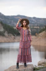Multi Stripe Maxi Peasant Dress - 10